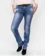 Джинсы женские RESALSA голубые с ремнем 104