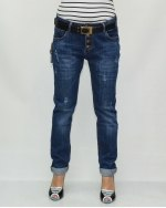 Джинсы женские VANVER синие с ремнем 81062