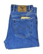 Джинсы мужские GAMU голубые с желтой строчкой