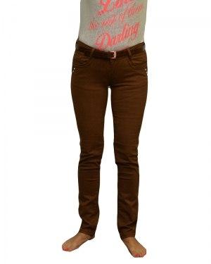 Джинсы женские KANGXI коричневые стрейч с ремнем 3289