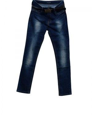 Джинсы женские LDM синие стрейч с ремнем 8588