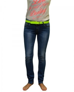 Джинсы женские DECRYPT синие стрейч с ремнем 3393