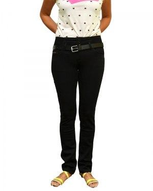 Джинсы женские VANVER черные стрейч с ремнем 8658