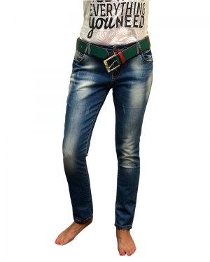 Джинсы женские LDM бойфренды синие стрейч с ремнем 8482
