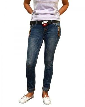 Джинсы женские LOLO синие стрейч с ремнем 8802