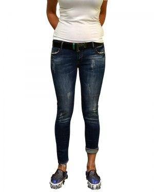 Джинсы женские LIUZIN синие стрейч с ремнем 3457