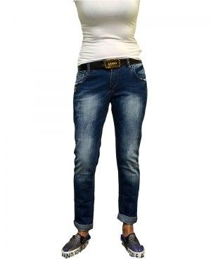 Джинсы женские LIUZIN бойфренды синие стрейч с ремнем 4590
