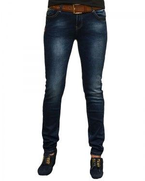 Джинсы женские MS синие стрейч с ремнем 2070