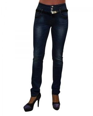 Джинсы женские VANVER синие стрейч с ремнем 8793