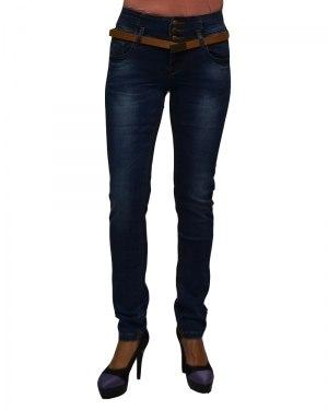 Джинсы женские VANVER синие стрейч с ремнем 8796