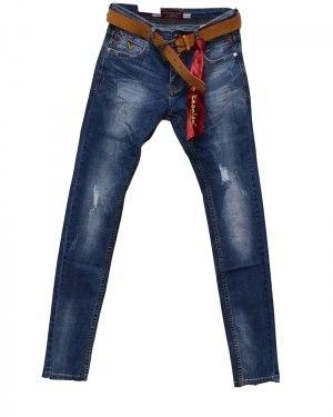 Джинсы мужские RESALSA синие с ремнем 8801