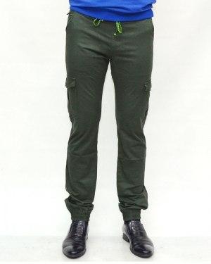 Джинсы мужские AWIVGOSS зеленые на резинке 6091-2