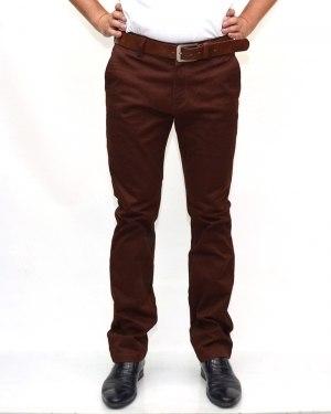 Джинсы мужские CATENVIN коричневые стрейч с ремнем 1026-4