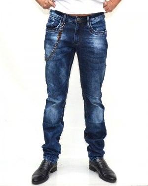 Джинсы мужские FANGSIDA синие с ремнем 1095