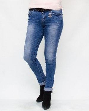 Джинсы женские CUDI голубые с ремнем 9369