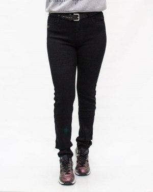 Джинсы женские LDM черные зимние с ремнем 9230
