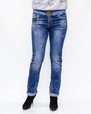 Джинсы женские LIKE синие с ремнем 6013