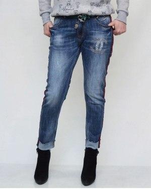 Джинсы женские LOLO синие с ремнем 9207