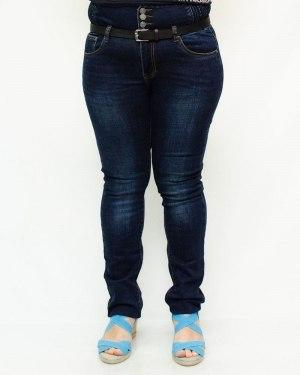 Джинсы женские LZY синие стрейч корсет с ремнем 827
