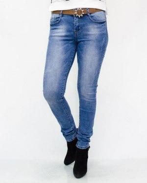 Джинсы женские MS голубые с ремнем 6239