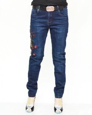 Джинсы женские RESALSA синие с ремнем 099