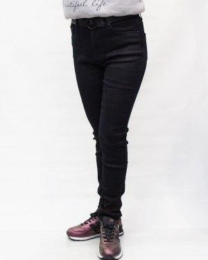 Джинсы женские VANVER черные зимние с ремнем 81273