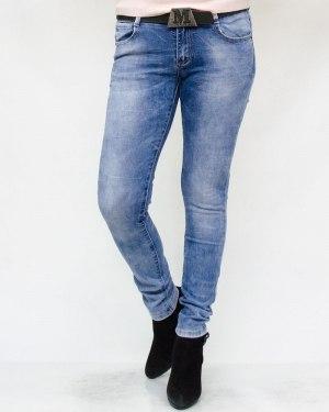 Джинсы женские VIVIAN голубые с ремнем 8691