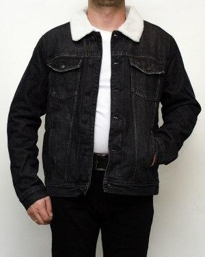 Куртка мужская джинсовая зимняя RESALSA черная на меху 9822-1