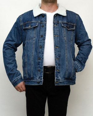 Куртка мужская джинсовая зимняя RESALSA синяя на меху 9819-1