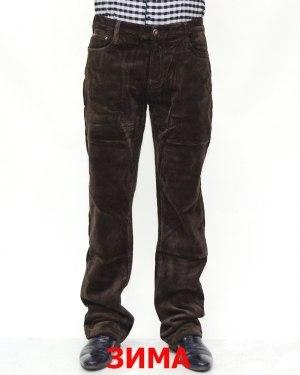 Джинсы мужские 839 коричневые вельвет теплые 6001-22-12