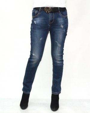 Джинсы женские VERSION синие с ремнем теплые 8267