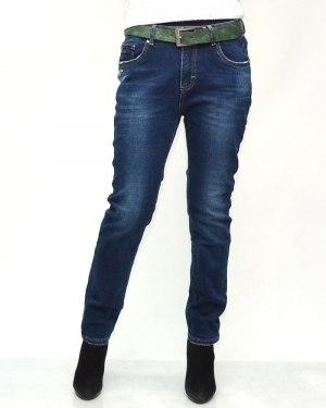 Джинсы женские VERSION синие с ремнем теплые 8268