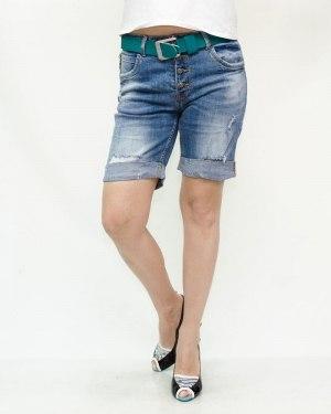 Шорты женские LOLO синие с ремнем 2502