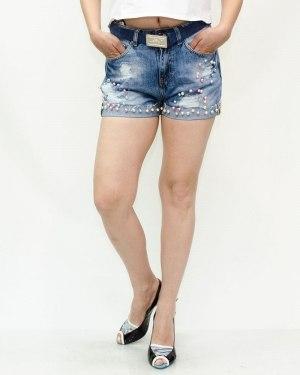 Шорты женские LOLO синие с ремнем 2806