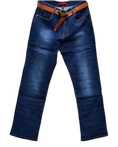 Джинсы женские HU DIE синие стрейч с ремнем 8016