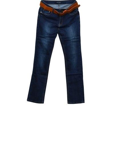 Джинсы женские LDM синие стрейч с ремнем 8589