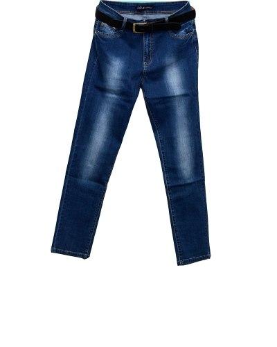 Джинсы женские LDM синие стрейч с ремнем 8469