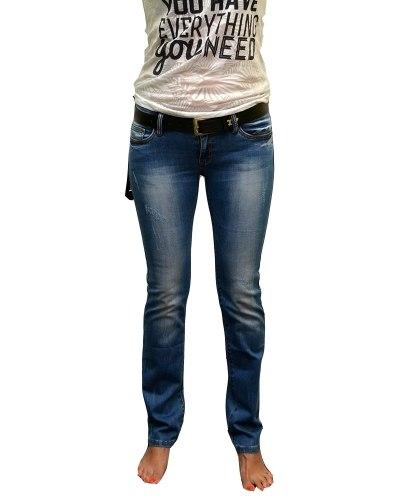 Джинсы женские DECRYPT синие стрейч с ремнем 310