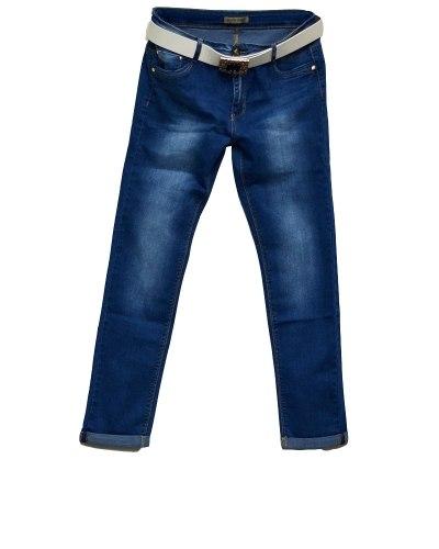 Джинсы женские MOON GIRL голубые стрейч с ремнем 6719-2