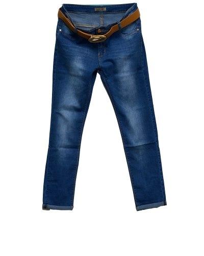 Джинсы женские MOON GIRL голубые стрейч с ремнем 6721-2