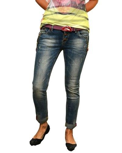 Джинсы женские LOLO синие стрейч с ремнем 8813