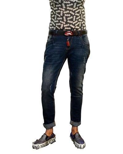 Джинсы женские LOLO бойфренды синие стрейч с ремнем 5515