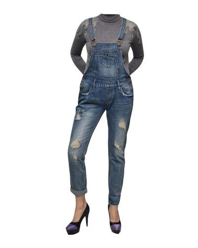 Джинсы женские LOLO комбинезон синие стрейч 2211
