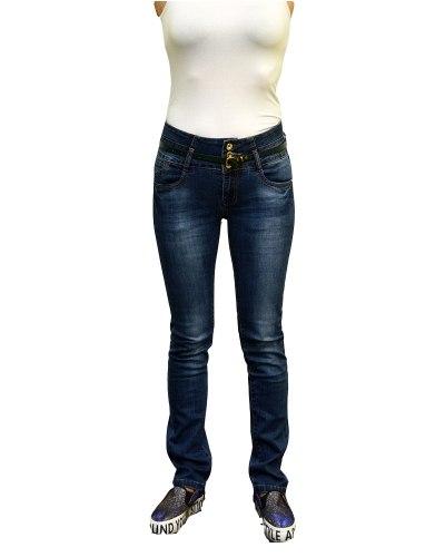 Джинсы женские PTA синие стрейч с ремнем 3682