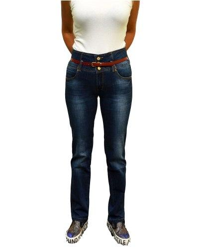 Джинсы женские PTA синие стрейч с ремнем 3681