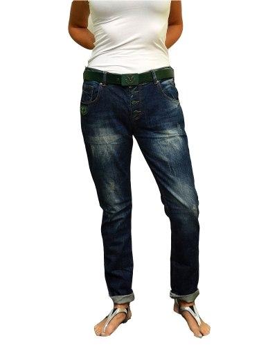 Джинсы женские RED BLUE бойфренды синие стрейч с ремнем 8045