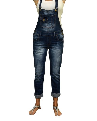 Джинсы женские LIUZIN комбинезон синие стрейч 4571