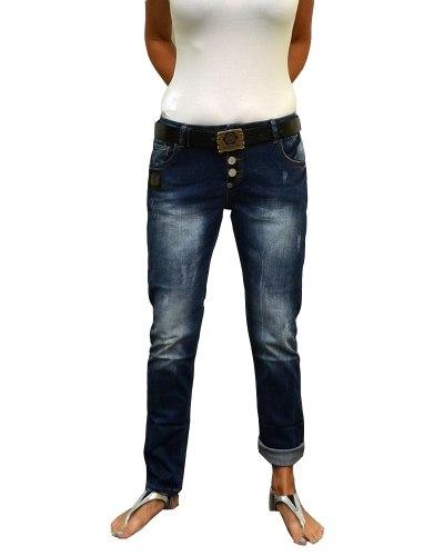 Джинсы женские LIUZIN бойфренды синие стрейч с ремнем 4579