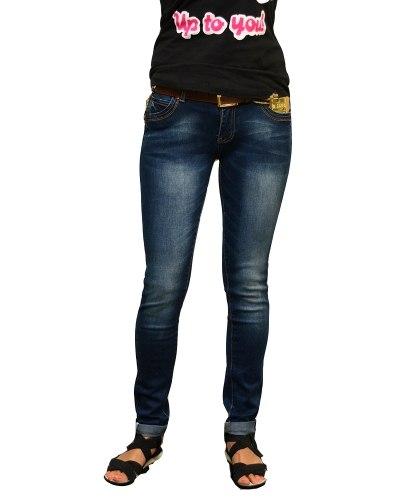 Джинсы женские MS синие стрейч с ремнем 2078