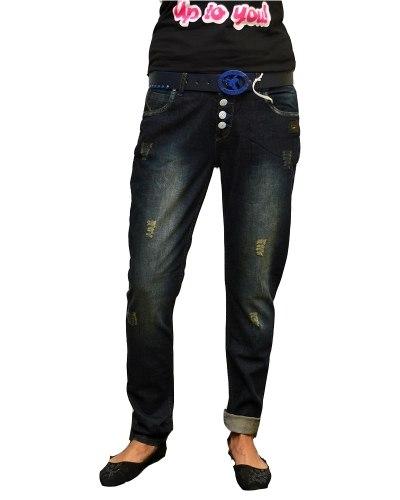 Джинсы женские NEWRY бойфренды синие стрейч с ремнем 138